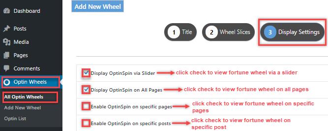 display settings tab and options