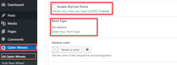 enable mycred points