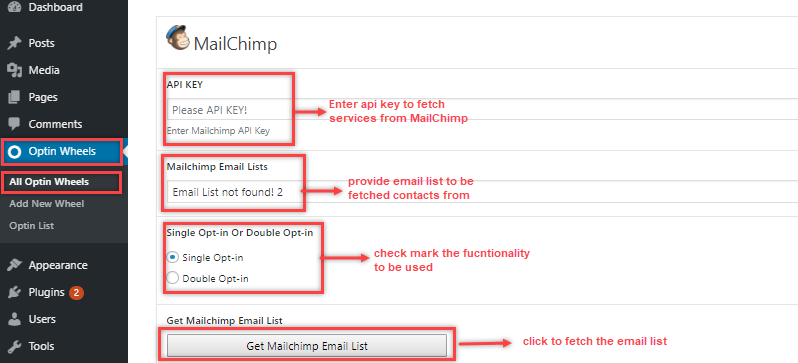 mailchimp integration with optionspin
