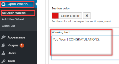 winning text